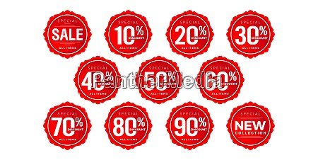 discount sticker number discount number set