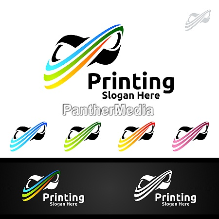 infinity printing company vector logo design