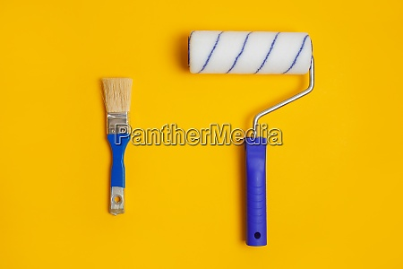 paint roller and brush isolated on