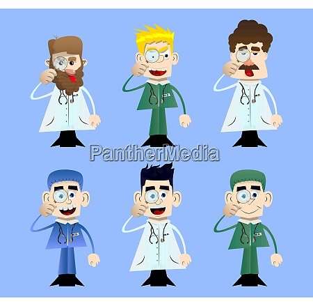 funny cartoon doctor holding a magnifying