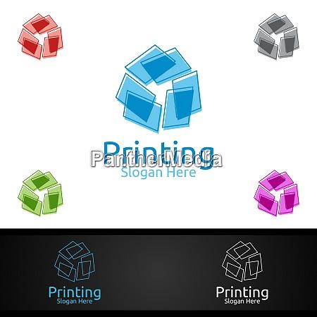 paper printing company vector logo design