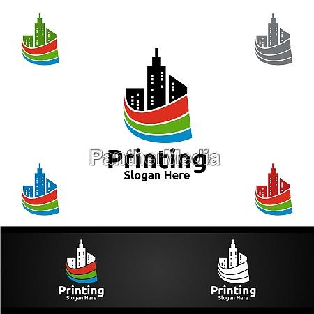 city printing company vector logo design