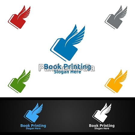 flying fast book printing company vector