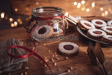 christmas still life with jam cookies