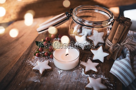 christmas still life with cinnamon stars