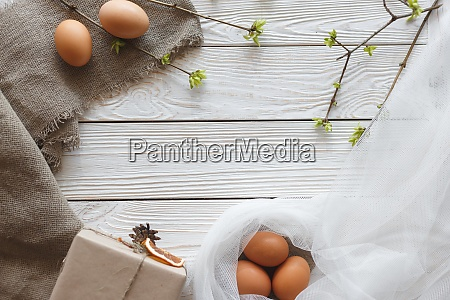 springtime easter composition on a white