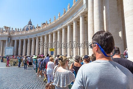mass tourism waiting for entry