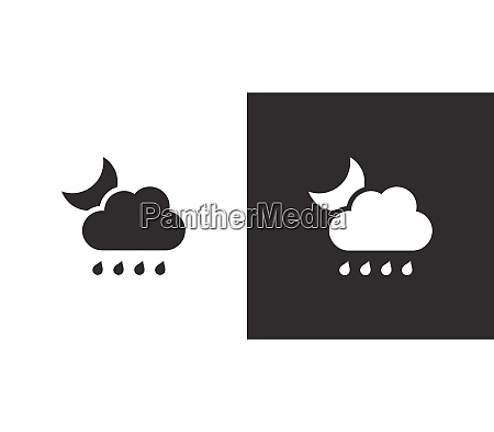 raindrops cloud and moon isolated icon
