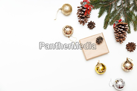 christmas balls gift box with fir