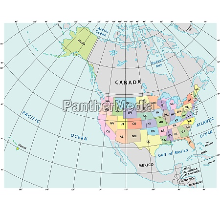 north america administrative vector map with