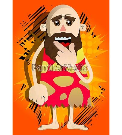 cartoon caveman holding finger front of