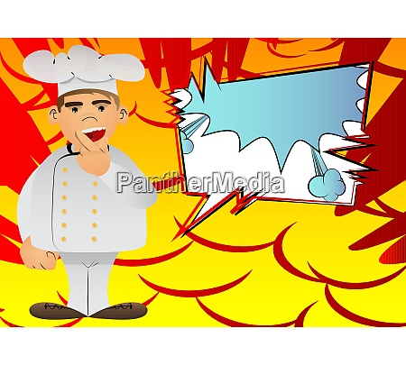 chef in uniform holding finger front
