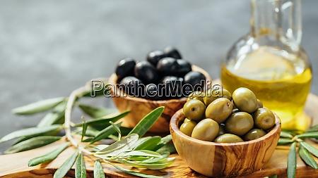 set of olives and olive oil