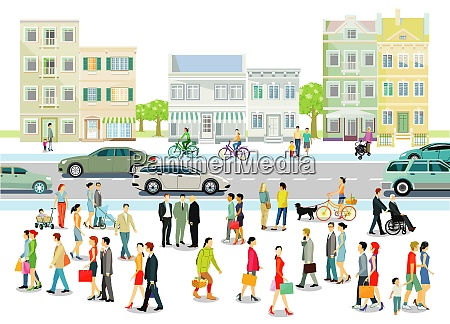 city with people and road traffic