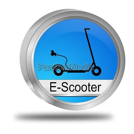 blue e scooter button 3d