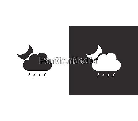 soft rain moon and cloud isolated