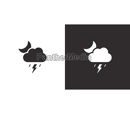soft storm cloud and moon isolated