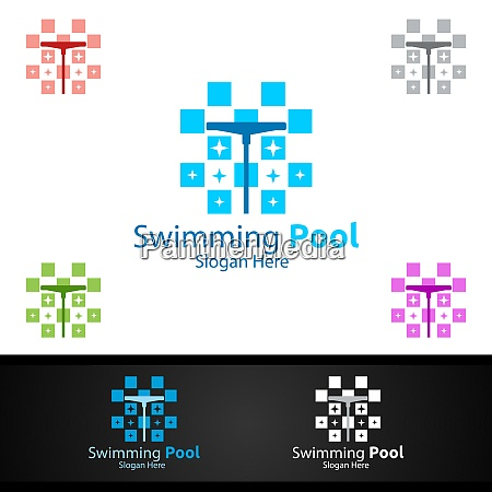 swimming pool service logo with cleaning