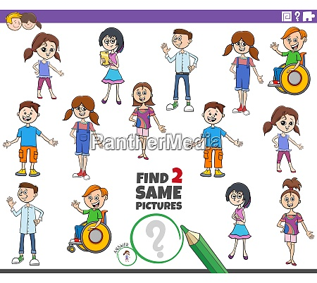 find two same kid characters educational
