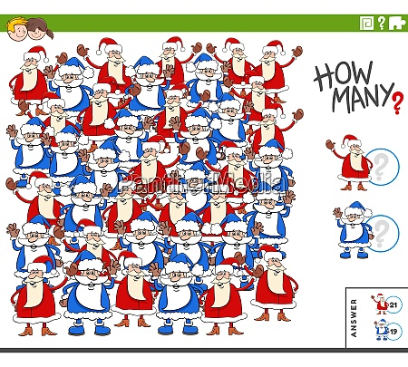 counting santa claus characters educational task