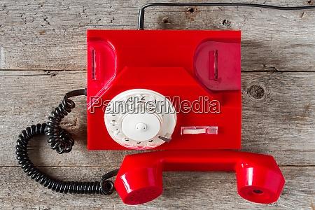 red vintage phone top view