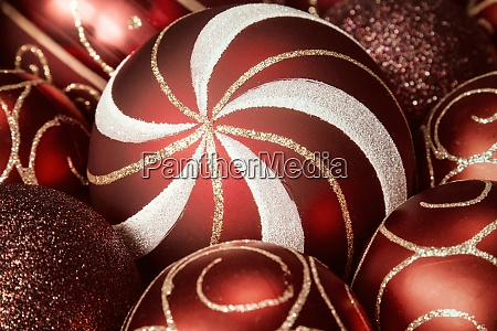 close up of christmas glass baubles