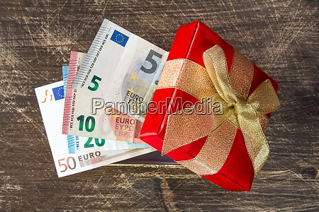 gift box with euro currency