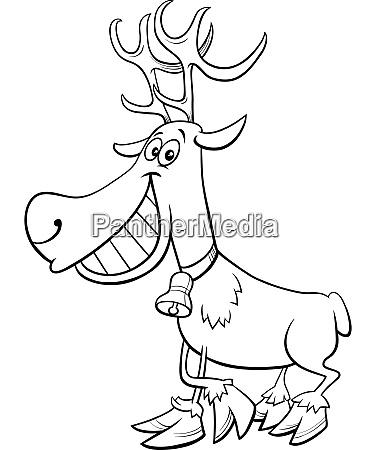 cartoon christmas reindeer character coloring book