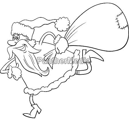 running santa claus christmas character coloring