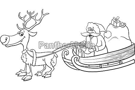 santa claus on sleigh with reindeer