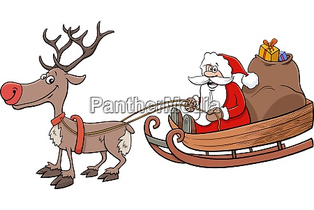santa claus on sleigh with reindeer