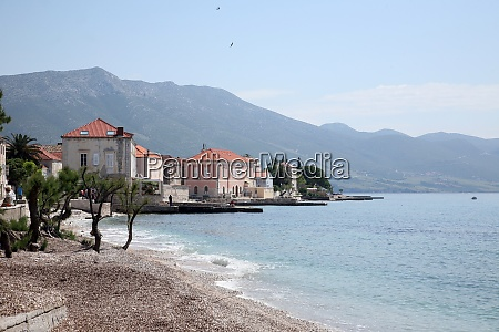 shoreline of orebic town on peljesac