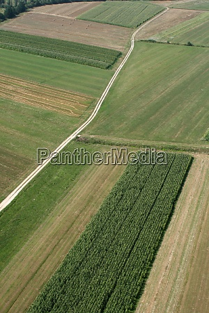 meadows and fields aerial image