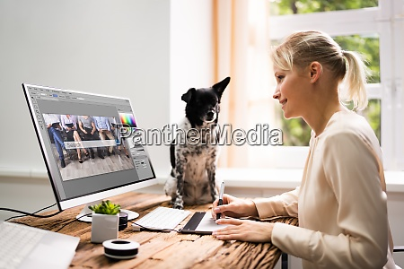 graphic web designer working with photo
