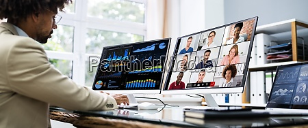 watching online video conference meeting