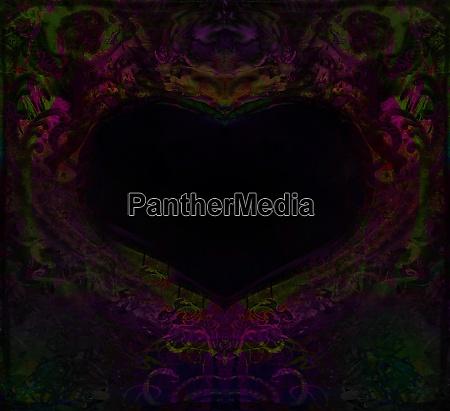 grunge heart frame dark decorative