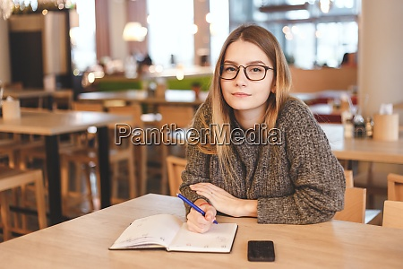 hipster girl works in creative office