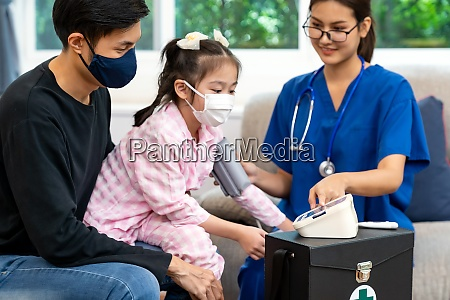 doctor visit and examine child girl