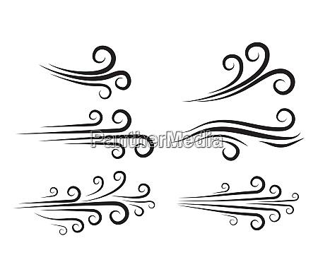 wind blow icon set windy weather