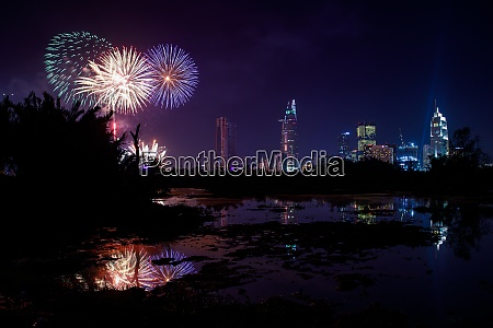 fireworks over the city of saigon