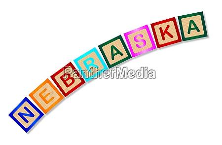 nebraska wooden block letters
