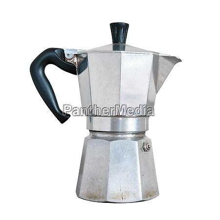 used italian coffee maker isolated on