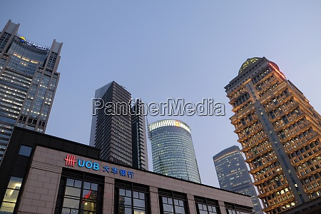 financial towers in the pudong east