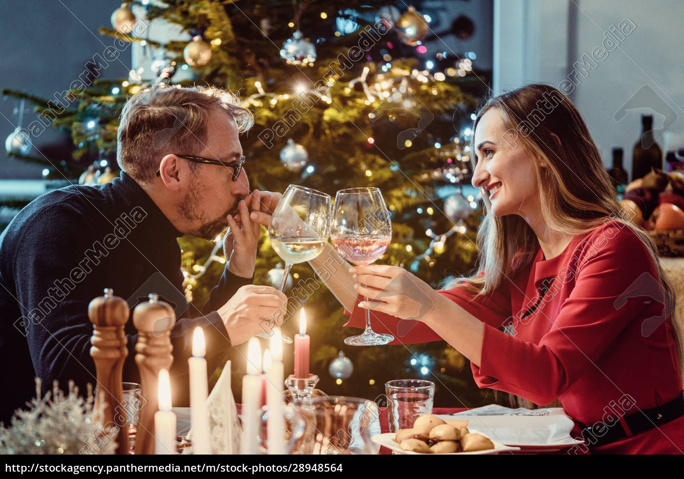 middle, aged, couple, drinking, wine, on - 28948564