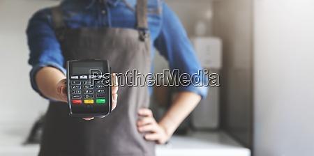 noncash payment waitress with apron