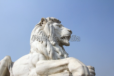 lion statue in sky background at