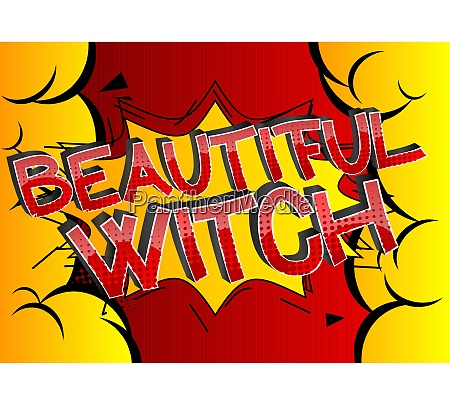 beautiful witch comic book style cartoon