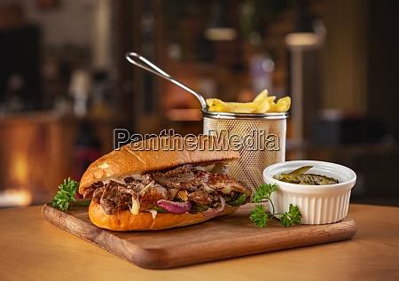 pork sandwich with cheese