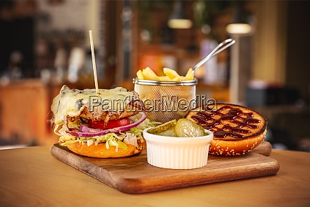 brioche bun with burger