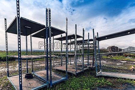empty metal shelves